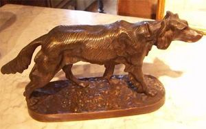 ANTIQUITES THUILLIER - chien à l'arrêt - Animal Sculpture