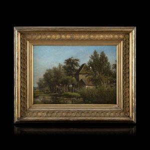 Expertissim - johann de vogel. paysanne à la mare - Landscape Painting