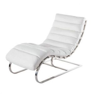 Maisons du monde - chaise longue cuir blanc freud - Lounge Chair