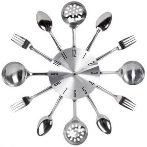Maisons du monde - horloge ustensiles chrome - Kitchen Clock