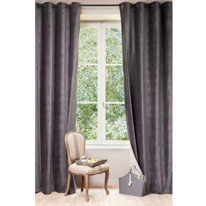Maisons du monde - rideau velours anthracite dos lin - Eyelet Curtain