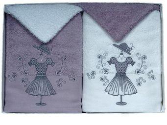 SIRETEX - SENSEI - coffret 4 pièces 2 serviettes brodées +2 gants ga - Bath Glove