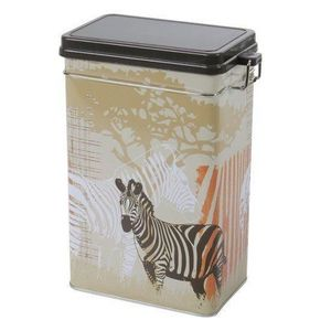 WHITE LABEL - boite à café rectangle savane - Biscuit Tin