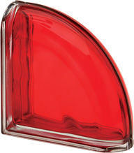 Curved end glass block