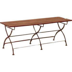Aubry-Gaspard - banc de jardin pliant en métal et bois laqué 120x3 - Garden Bench