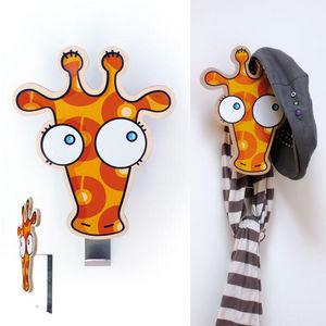 SERIE GOLO - patère géante girafe en bois et alu 20x24cm - Children's Coat Rack