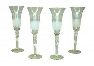 Demeure et Jardin - ensemble de 4 flutes a champagne gravées - Champagne Flute