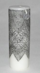 Demeure et Jardin - bougie colonne blanche dentelle noire gm - Round Candle