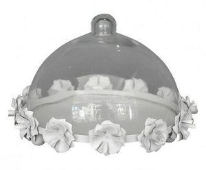 Demeure et Jardin - cloche à patisserie en tôle blanche - Cake Glass Dome