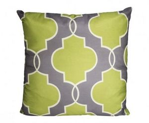 Demeure et Jardin - coussin vert fond gris - Square Cushion