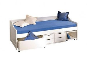 WHITE LABEL - lit banquette floro multi rangements en pin massif - Bed With Drawers