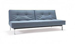 INNOVATION - canape design splitback bleu pieds métal convertib - Futon