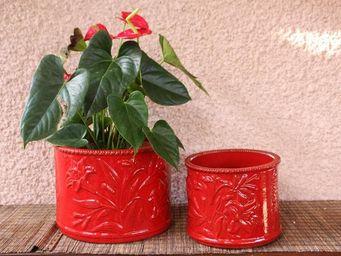 Les Poteries D'albi - fleurs de lys - Plant Pot Cover