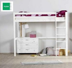 FLEXA - lit mezzanine flexa en pin vernis blanchi couchage - Mezzanine Bed