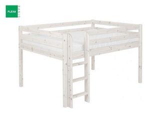 FLEXA - lit mi haut flexa en pin vernis blanchi couchage 9 - Mezzanine Bed