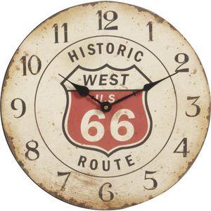Aubry-Gaspard - pendule en bois vieilli route 66 - Wall Clock
