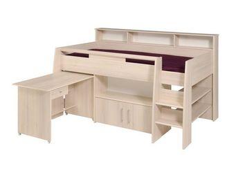 WHITE LABEL - lit surélevé multifonctions acacia clair - kirt - - Mezzanine Bed Child