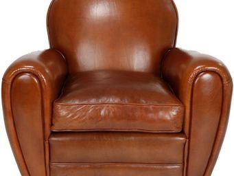 WHITE LABEL - fauteuil club cuir noisette ressorts plats - dorse - Club Armchair
