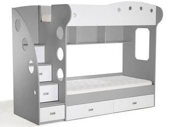 WHITE LABEL - lit mezzanine superposé combi blanc et gris - Children Bunk Bed
