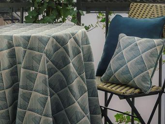 THEVENON - quadratiss bleu canard - Fabric By The Metre