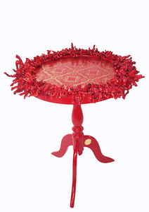 RELOADED DESIGN - mini table verso sud red coral - small - Pedestal Table