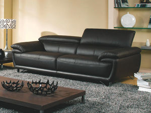 WHITE LABEL - canapé cuir 3 places baya - 3 Seater Sofa