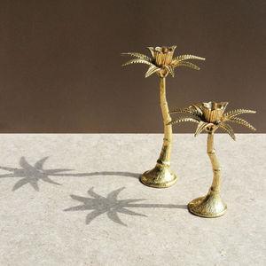 &klevering - palm tree candle holder brass - Candle Holder
