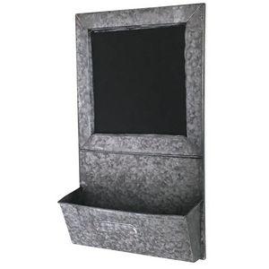 CHEMIN DE CAMPAGNE - tableau ardoise avec etagère de cuisine en zinc - Wall Mounted Blackboard