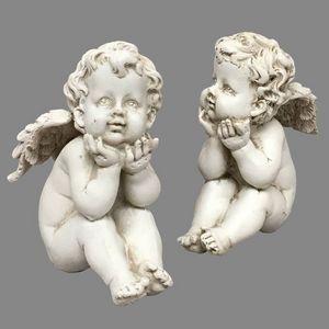 CHEMIN DE CAMPAGNE - 2 anges chérubins en résine dure pleine 9 cm - Figurine