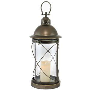 CHEMIN DE CAMPAGNE - grande lanterne tempête à bougie en métal fer avec - Lantern