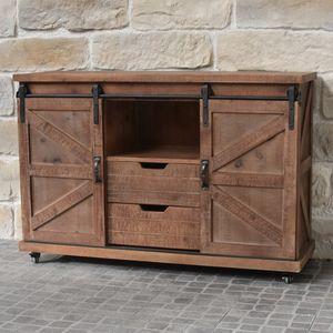 CHEMIN DE CAMPAGNE - meuble bahut télé tv industriel à roulettes bois f - Base Cabinet