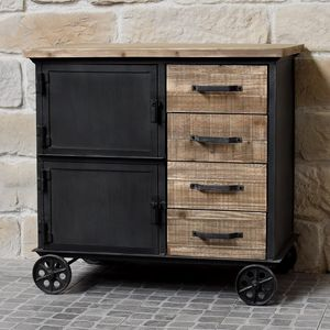 CHEMIN DE CAMPAGNE - meuble industriel campagne en bois et fer bahut en - Serving Trolley