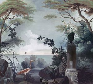 Ananbô - le jardin au flamant rose - Panoramic Wallpaper