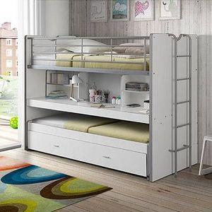 MAISON ET STYLES - lits superposés 3 couchages 90x200 cm blanc - assia - Bunk Bed
