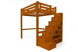 ABC MEUBLES - abc meubles - lit mezzanine alpage bois + escalier cube hauteur réglable chocolat 160x200 - Mezzanine Bed