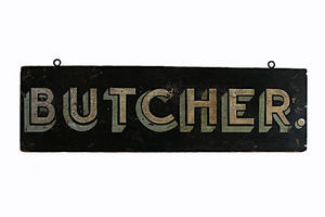 AMERICAN GARAGE - enseigne de boucher - Pavement Sign