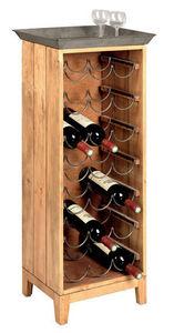 Aubry-Gaspard - meuble de cave en pin avec plateau zinc 37x25x102c - Bottle Rack