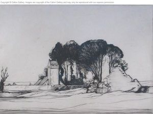 CALTON GALLERY - llanddewi church, gower, south wales - Etching