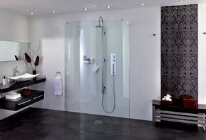Aqata Shower Enclosures - spectra sp395 curved double entry - Shower Screen Panel