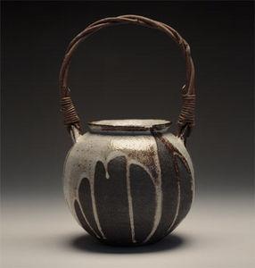 Maze Hill Pottery - black jar with akebi handle - Jar