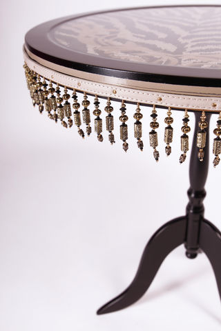 RELOADED DESIGN - Pedestal table-RELOADED DESIGN-Mini Table Met Safari Zebra  - Large