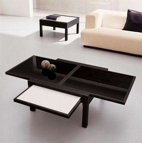 Sculptures-Jeux - Coffee table with extension lead-Sculptures-Jeux-TABLE PAR 4 BASSE ACRILUX NOIR