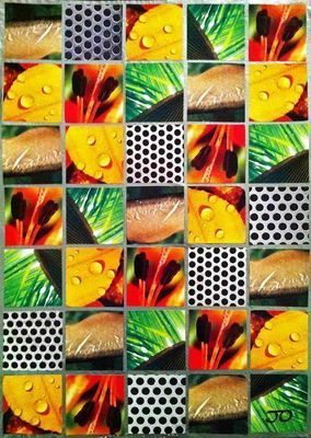 JOHANNA L COLLAGES - Contemporary painting-JOHANNA L COLLAGES-Metallic mango juice