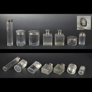 Expertissim - garniture de toilette en cristal et argent - Badflakon