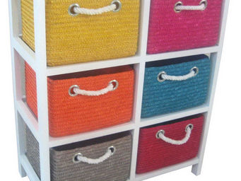BARCLER - meuble de rangement avec 6 paniers en paille cousu - Badezimmermöbel