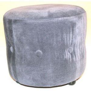 International Design - pouf velours rond chesterfield - couleur - gris - Sitzkissen
