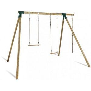 JARDIPOLYS - portique en bois avec balançoire, trapèze, corde - Spielgerätegerüst