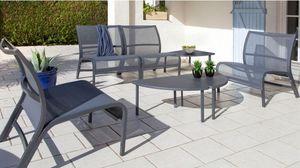 PROLOISIRS - salon linéa lounge 4 fauteuils 1 table - Gartengarnitur