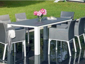 PROLOISIRS - salon de jardin oslo gris 1 table + 6 fauteuils - Garten Esszimmer