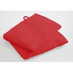 TODAY - lot de 2 gants de toilette - couleur - rouge - Handtuch